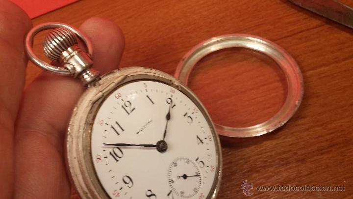 Relojes de bolsillo: Gran reloj con caja de plata maciza WALTHAM con 126gr de peso, de 1906, con relojera de plata maciza - Foto 71 - 49075738