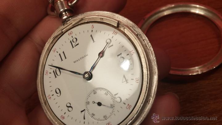 Relojes de bolsillo: Gran reloj con caja de plata maciza WALTHAM con 126gr de peso, de 1906, con relojera de plata maciza - Foto 73 - 49075738