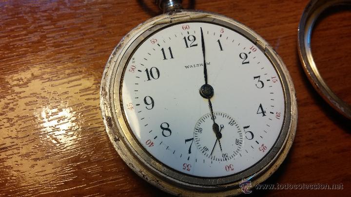 Relojes de bolsillo: Gran reloj con caja de plata maciza WALTHAM con 126gr de peso, de 1906, con relojera de plata maciza - Foto 74 - 49075738
