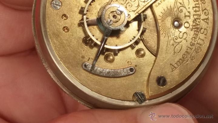 Relojes de bolsillo: Gran reloj con caja de plata maciza WALTHAM con 126gr de peso, de 1906, con relojera de plata maciza - Foto 82 - 49075738