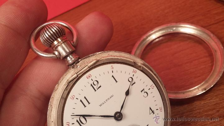 Relojes de bolsillo: Gran reloj con caja de plata maciza WALTHAM con 126gr de peso, de 1906, con relojera de plata maciza - Foto 83 - 49075738