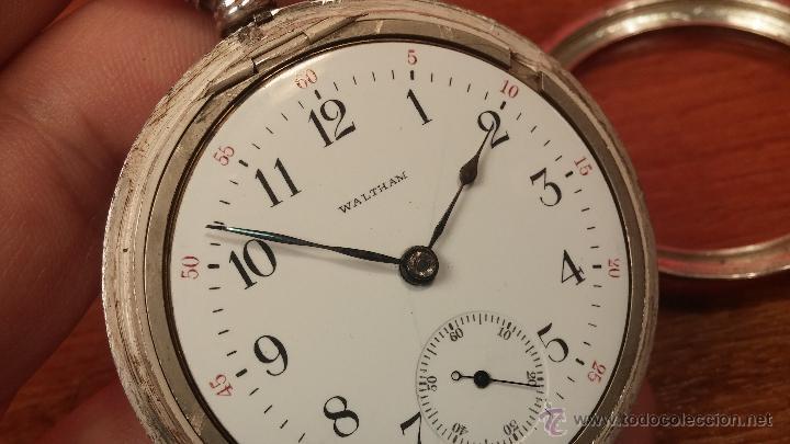 Relojes de bolsillo: Gran reloj con caja de plata maciza WALTHAM con 126gr de peso, de 1906, con relojera de plata maciza - Foto 84 - 49075738