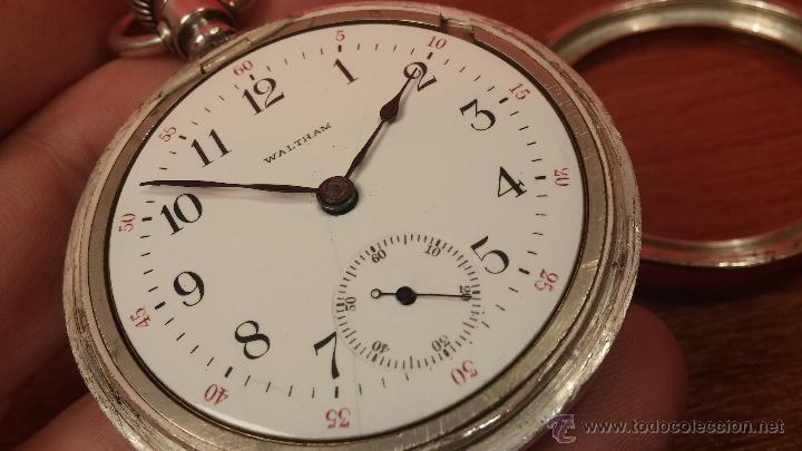 Relojes de bolsillo: Gran reloj con caja de plata maciza WALTHAM con 126gr de peso, de 1906, con relojera de plata maciza - Foto 85 - 49075738
