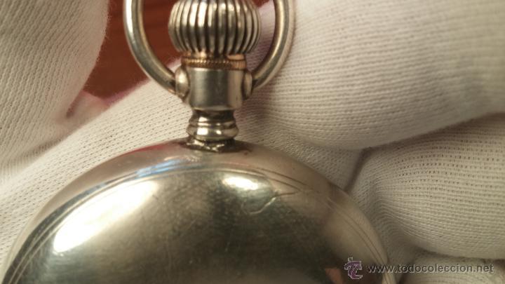 Relojes de bolsillo: Gran reloj con caja de plata maciza WALTHAM con 126gr de peso, de 1906, con relojera de plata maciza - Foto 86 - 49075738