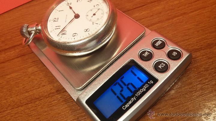 Relojes de bolsillo: Gran reloj con caja de plata maciza WALTHAM con 126gr de peso, de 1906, con relojera de plata maciza - Foto 88 - 49075738