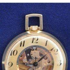 Relojes de bolsillo: RELOJ DE BOLSILLO AUTOMATICO SUIZO LUCERNE MAQUINARIA VISTA SWISS MADE CHAPADO ORO FUNCIONA PERFECTO. Lote 51667434