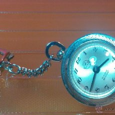 Relojes de bolsillo: CURIOSO LLAVERO RELOJ PEGASO CON 17 RUBÍS, A CUERDA Y CON FORMA DE PLATILLO VOLANTE. Lote 52020395