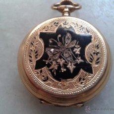 Relojes de bolsillo: RELOJ BOLSILLO ORO TRES TAPAS, CYLINDRE REMONTOIR 10 RUBIS. ESMALTES Y DIAMANTES. Lote 52864235