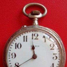 Relojes de bolsillo: ANTIGUO RELOJ DE BOLSILLO SUIZO DE PLATA SWISS MADE DE LA MARCA FARO. Lote 54920746