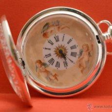 Relojes de bolsillo: RELOJ DE BOLSILLO CARGA MANUAL EN PLATA SABONETA MOTIVO ANGELES. Lote 96210754