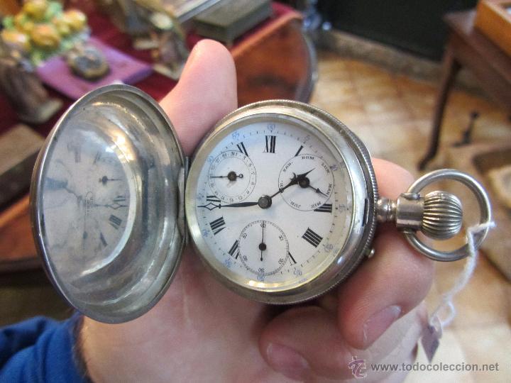 PRECIOSO RELOJ DE BOLSILLO BOREL GENEVE PLATA 15 RUBIS (Relojes - Bolsillo Carga Manual)