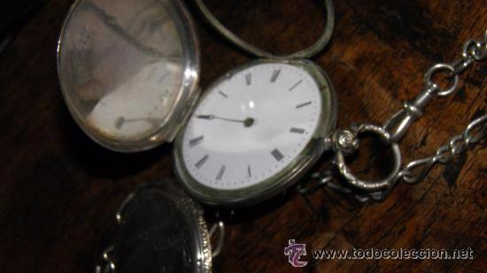 RELOJ PLATA,S.XIX.DOS TAPAS GRABADAS,LEONTINA PLATA Y LLAVE DE CARGA. (Relojes - Bolsillo Carga Manual)