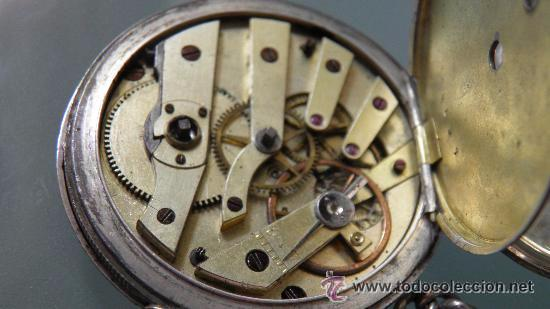 Relojes de bolsillo: RELOJ PLATA,S.XIX.DOS TAPAS GRABADAS,LEONTINA PLATA Y LLAVE DE CARGA. - Foto 2 - 53324566