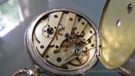 Relojes de bolsillo: RELOJ PLATA,S.XIX.DOS TAPAS GRABADAS,LEONTINA PLATA Y LLAVE DE CARGA. - Foto 3 - 53324566