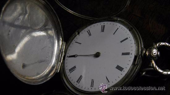 Relojes de bolsillo: RELOJ PLATA,S.XIX.DOS TAPAS GRABADAS,LEONTINA PLATA Y LLAVE DE CARGA. - Foto 4 - 53324566