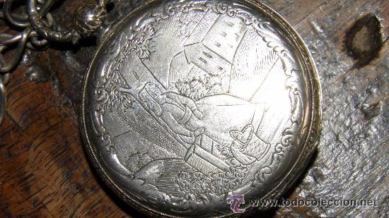 Relojes de bolsillo: RELOJ PLATA,S.XIX.DOS TAPAS GRABADAS,LEONTINA PLATA Y LLAVE DE CARGA. - Foto 5 - 53324566