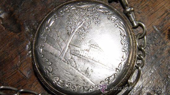 Relojes de bolsillo: RELOJ PLATA,S.XIX.DOS TAPAS GRABADAS,LEONTINA PLATA Y LLAVE DE CARGA. - Foto 6 - 53324566