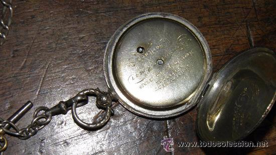 Relojes de bolsillo: RELOJ PLATA,S.XIX.DOS TAPAS GRABADAS,LEONTINA PLATA Y LLAVE DE CARGA. - Foto 8 - 53324566