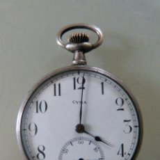 Relojes de bolsillo: RELOJ CYMA DE PLATA ANTIGUO DE BOLSILLO. Lote 53324798