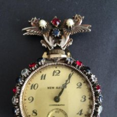 Relojes de bolsillo: RELOJ DE SOLAPA, VINTAGE, , ADORNADO CON PEDRERIA. Lote 53289075