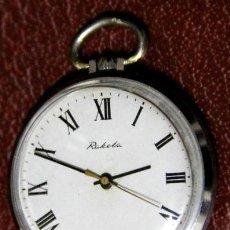 Relojes de bolsillo: PRECIOSO RELOJ RUSO DE BOLSILLO AÑOS 60/70 MARCA RAKETA CON 19 RUBIES SECUNDERO EN ORO. Lote 53387470