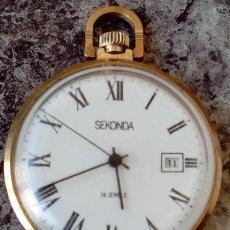 Relojes de bolsillo: ANTIGUO RELOJ DE BOLSILLO RUSO DE LA MARCA SEKONDA AÑOS 60/70 CHAPADO ORO MUY DIFICIL DE CONSEGUIR. Lote 58238333
