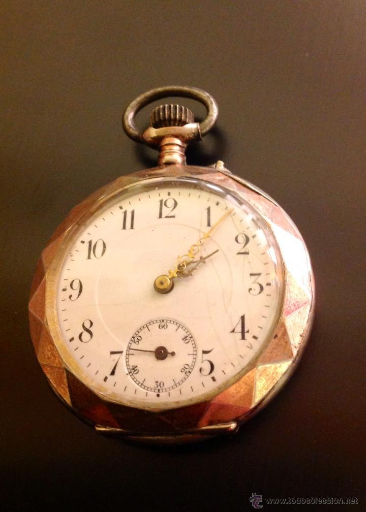 RELOJ DE BOLSILLO DE CABALLERO EN CAJA DE PLATA CON DORADOS. ESCAPE DE CILINDRO. FUNCIONA. (Relojes - Bolsillo Carga Manual)