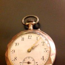 Relojes de bolsillo: RELOJ DE BOLSILLO DE CABALLERO EN CAJA DE PLATA CON DORADOS. ESCAPE DE CILINDRO. FUNCIONA.. Lote 54604662