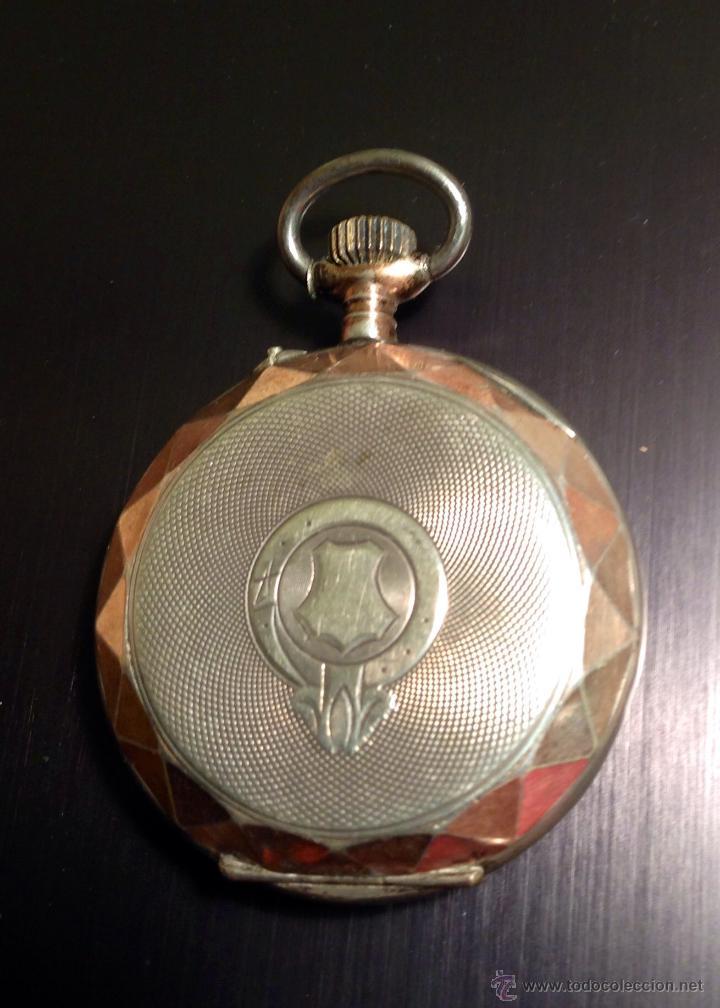 Relojes de bolsillo: Reloj de bolsillo de caballero en caja de plata con dorados. Escape de cilindro. Funciona. - Foto 2 - 54604662