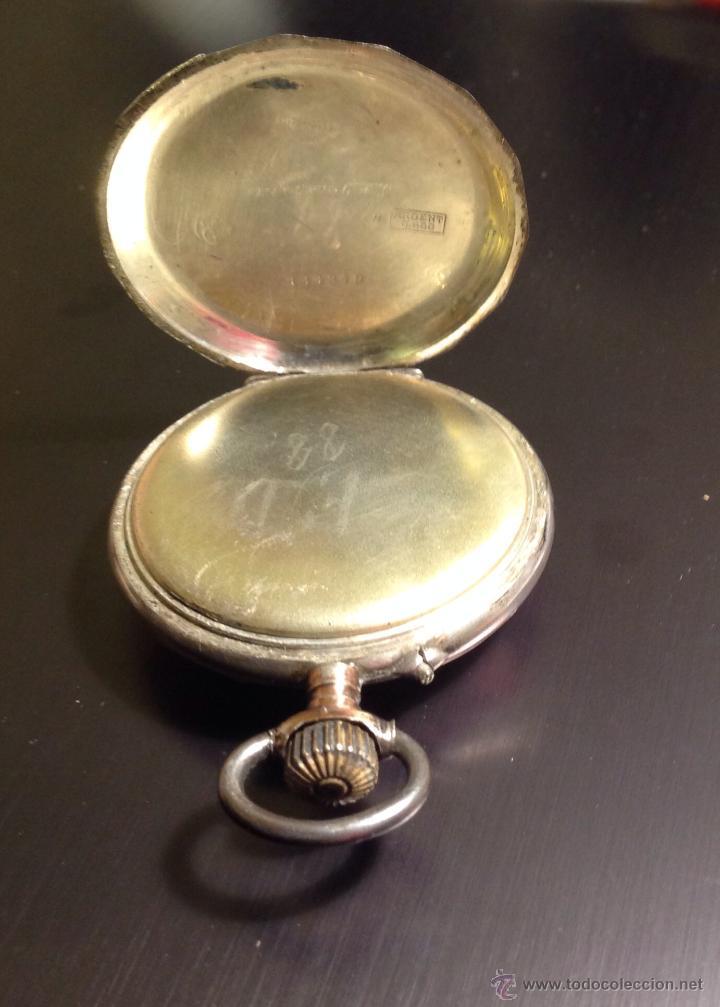 Relojes de bolsillo: Reloj de bolsillo de caballero en caja de plata con dorados. Escape de cilindro. Funciona. - Foto 4 - 54604662