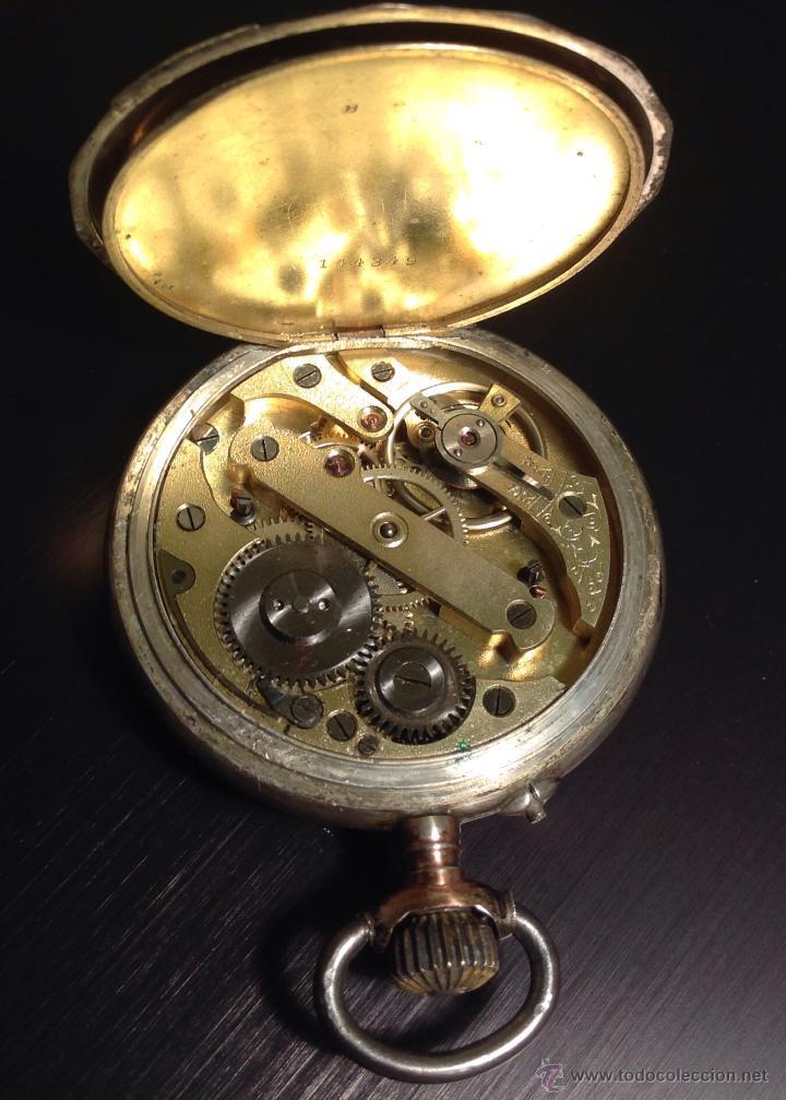 Relojes de bolsillo: Reloj de bolsillo de caballero en caja de plata con dorados. Escape de cilindro. Funciona. - Foto 5 - 54604662