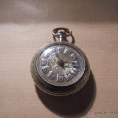 Relojes de bolsillo: ANTIGUO RELOJ DE BOLSILLO A CUERDA SISTEMA ROSKOPF CAJA TRABAJADA , TEMA DE CAZA . . Lote 54693455