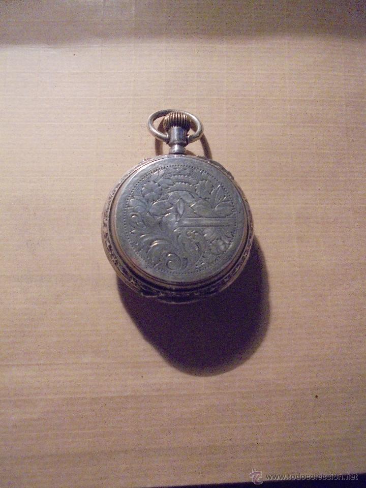 Relojes de bolsillo: ANTIGUO RELOJ , DE PLATA 3 TAPAS ESFERA DE PORCELANA REMONTOIR ANCRE LIGNE DROITE 15 RUBIS GENEVE . - Foto 2 - 54693632