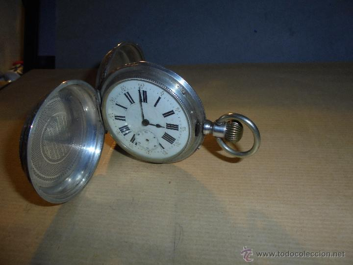 Relojes de bolsillo: ANTIGUO RELOJ , DE PLATA 3 TAPAS ESFERA DE PORCELANA REMONTOIR ANCRE LIGNE DROITE 15 RUBIS GENEVE . - Foto 5 - 54693632
