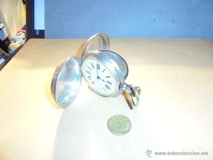 Relojes de bolsillo: ANTIGUO RELOJ , DE PLATA 3 TAPAS ESFERA DE PORCELANA REMONTOIR ANCRE LIGNE DROITE 15 RUBIS GENEVE . - Foto 6 - 54693632