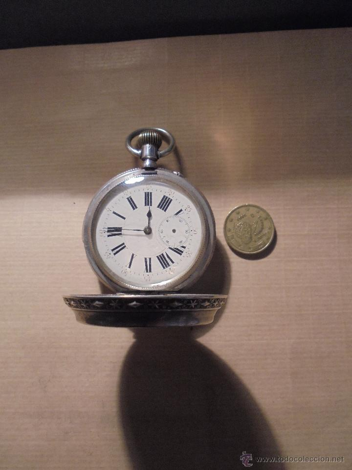 Relojes de bolsillo: ANTIGUO RELOJ , DE PLATA 3 TAPAS ESFERA DE PORCELANA REMONTOIR ANCRE LIGNE DROITE 15 RUBIS GENEVE . - Foto 9 - 54693632