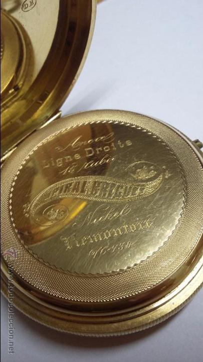 Relojes de bolsillo: RELOJ DE BOLSILLO DE ORO DE 18 K.. TRES TAPAS PERFECTO FUNCIONAMIENTO - Foto 7 - 54803050