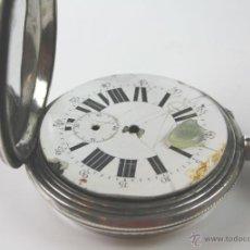 Relojes de bolsillo: RE296 GRAN RELOJ DE BOLSILLO SUIZO (7CM). PLATA CINCELADA. PRECISA RESTAURACIÓN. SIGLO XIX.. Lote 49724993