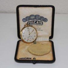 Relojes de bolsillo: RE288 RELOJ VULCAIN. CAJA ORO 18 KT. ESFERA METÁLICA. FUNCIONA. SUIZA. AÑOS 30. Lote 49005916