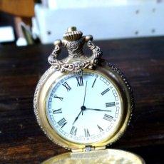 Relojes de bolsillo: BONITO RELOJ DE BOLSILLO CON TREN TALLADO EN LA TAPA. Lote 54999887