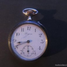 Relojes de bolsillo: RELOJ DE BOLSILLO DE PLATA,CON GRABADO EN ORO,MARCA LONGINES. Lote 55168598