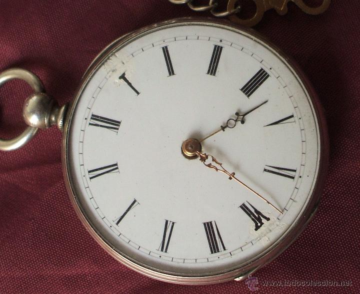 RELOJ CON LLAVE SIGLO XIX ALPACA FUNCIONANDO ADELANTA BASTANTE (Relojes - Bolsillo Carga Manual)
