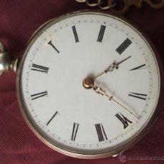 Relojes de bolsillo: RELOJ CON LLAVE SIGLO XIX ALPACA FUNCIONANDO ADELANTA BASTANTE. Lote 55228658
