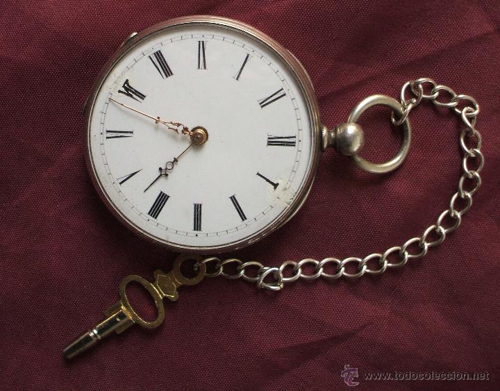 Relojes de bolsillo: RELOJ CON LLAVE SIGLO XIX ALPACA FUNCIONANDO ADELANTA BASTANTE - Foto 2 - 55228658