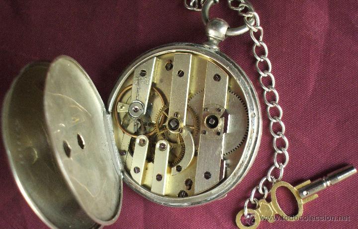 Relojes de bolsillo: RELOJ CON LLAVE SIGLO XIX ALPACA FUNCIONANDO ADELANTA BASTANTE - Foto 4 - 55228658
