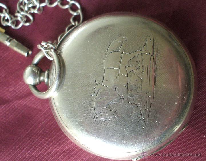 Relojes de bolsillo: RELOJ CON LLAVE SIGLO XIX ALPACA FUNCIONANDO ADELANTA BASTANTE - Foto 6 - 55228658