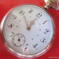 Relojes de bolsillo: RELOJ DE BOLSILLO ANTIGUO, CON CAJA DE PLATA Y DOBLE NUMERACIÓN DE 24 HORAS. Lote 57973986