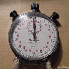 Relojes de bolsillo: CRONOGRAFO MARCA HANHART LEVER 7 JEWELS SHOCKPROOF 1/10 SEC , FUNCIONANDO CAJA DE ACERO . Lote 57385393