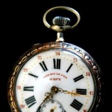 Relojes de bolsillo: RELOJ FRANCÉS EN PLATA - MARCA JAPY - CHEMIN DE FER - AÑO 1918 - EN ESTADO DE MARCHA. Lote 152995365