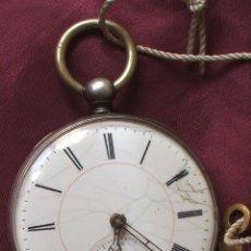 Relojes de bolsillo: RELOJ DE BOLSILLO CON LLAVE 1850 FUNCIONA Y SE PARA. Lote 57641453